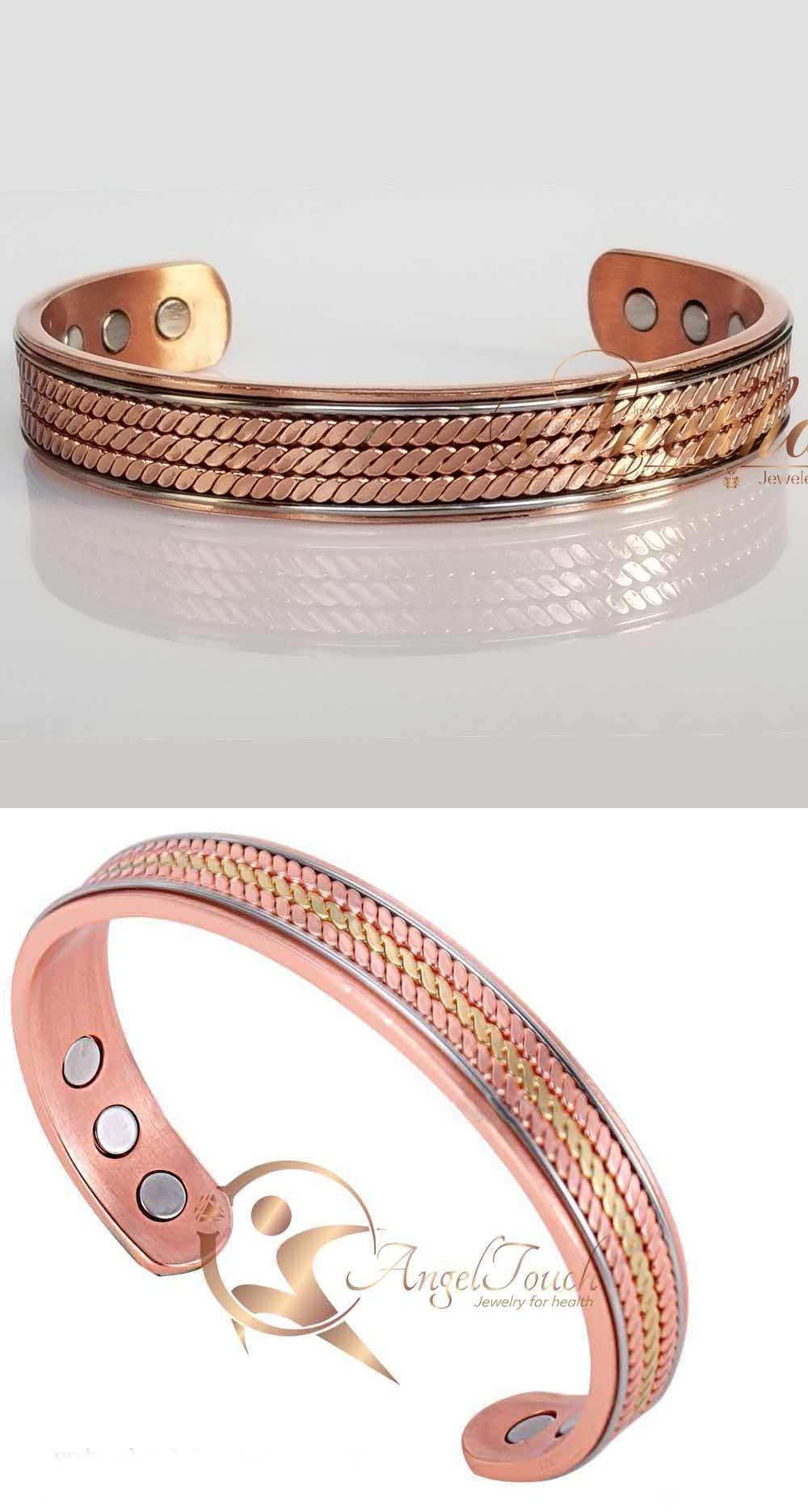tone chunky pure copper magnetic men women banglebracelet