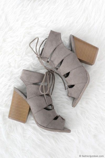 a3d81dc1023 Boho Faux Suede Lace Up Peep Toe Booties with Chunky Heel-Grey ...