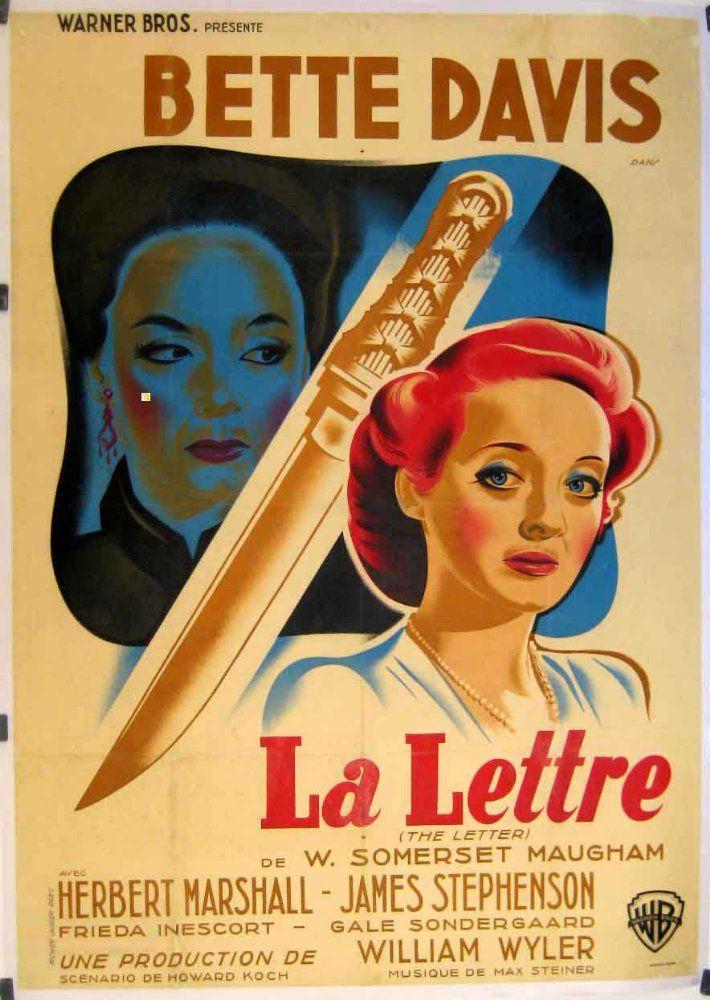 A Vintage French Poster For The Letter 1940 Bette Davis Film Noir Vintage Movies