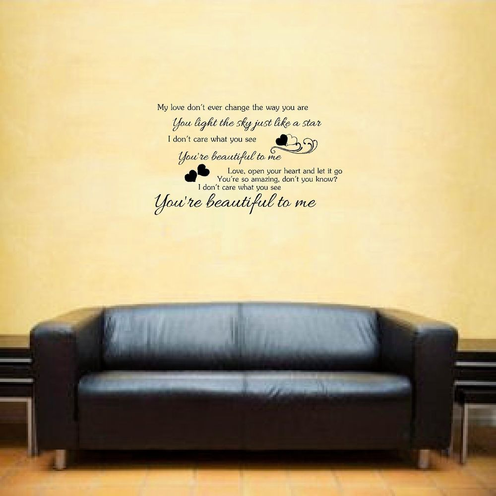 Olly Murs Beautiful to me Song lyrics Wall Art Sticker inspirational ...