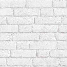 Papier Peint Briques Blanches Trompe L Oeil Salon Salle A Manger