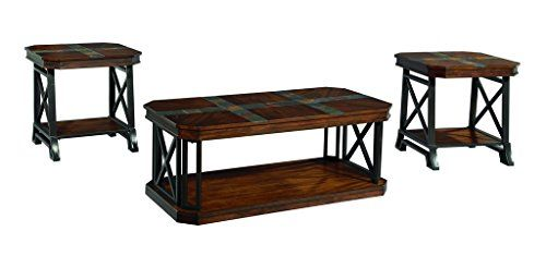 Ashley Furniture Signature Design Vinasville Occasional Table Set 1 Coffee Table And 2 End Tables Set Of 3 Medium Brown Living Coffee Table With Ca