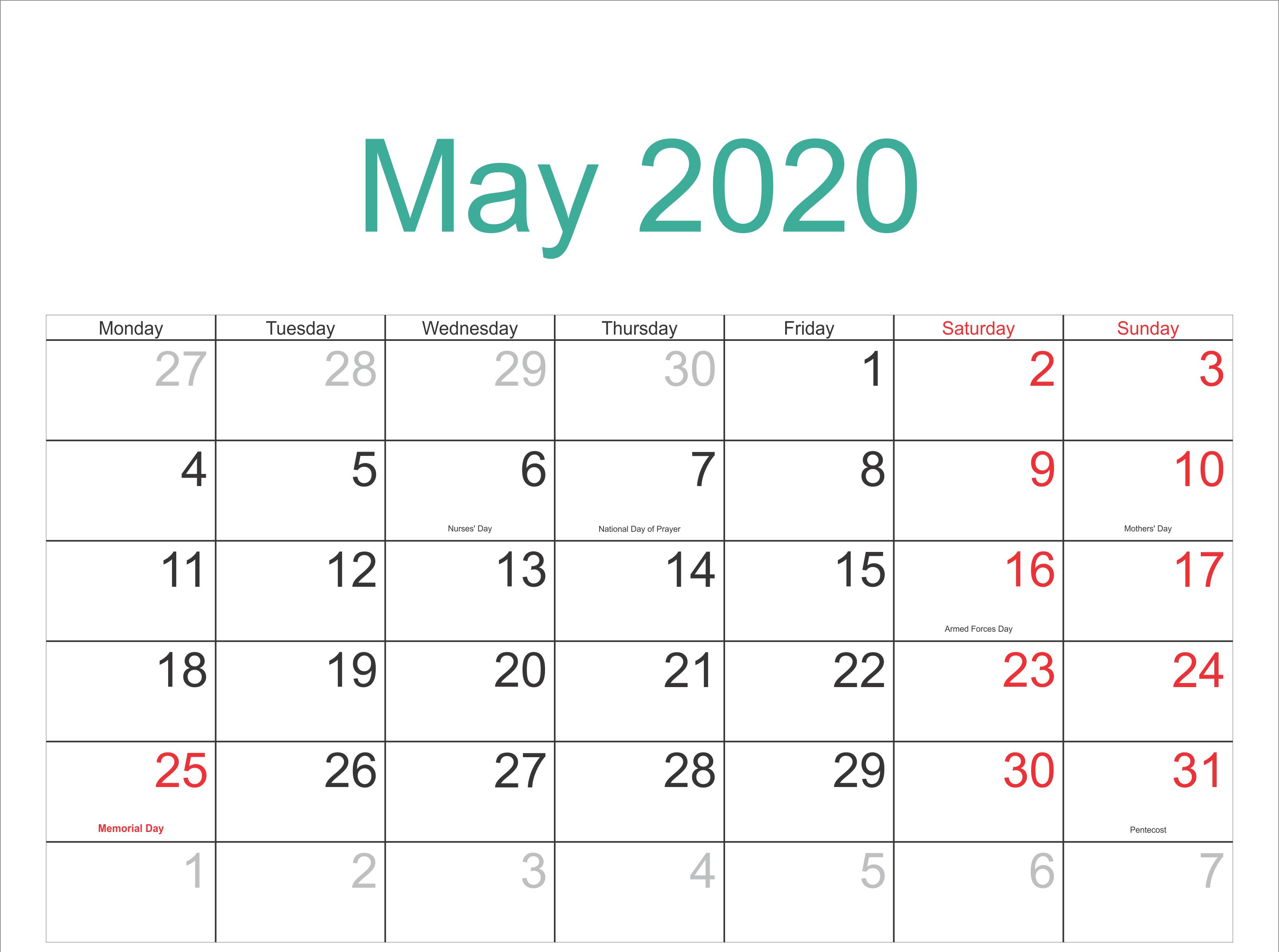 May 2020 Calendar Printable with Holidays may may2020