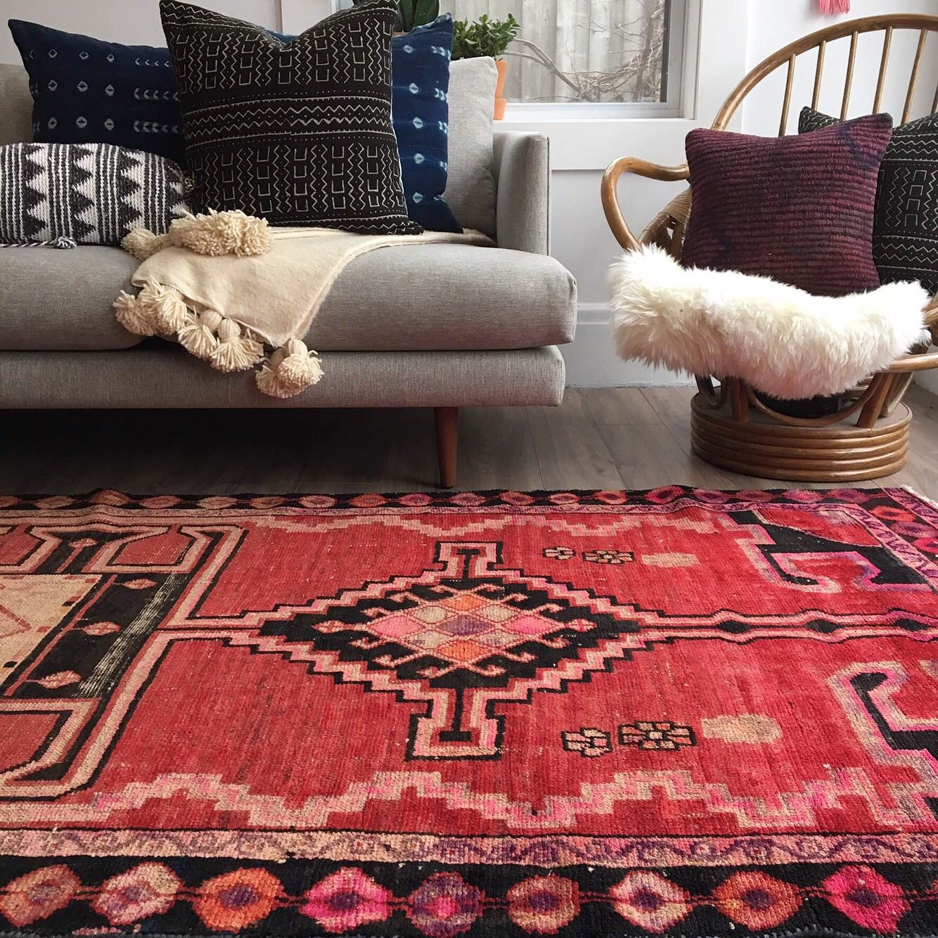 Vintage Persian Rug African Mud Cloth Pilllows