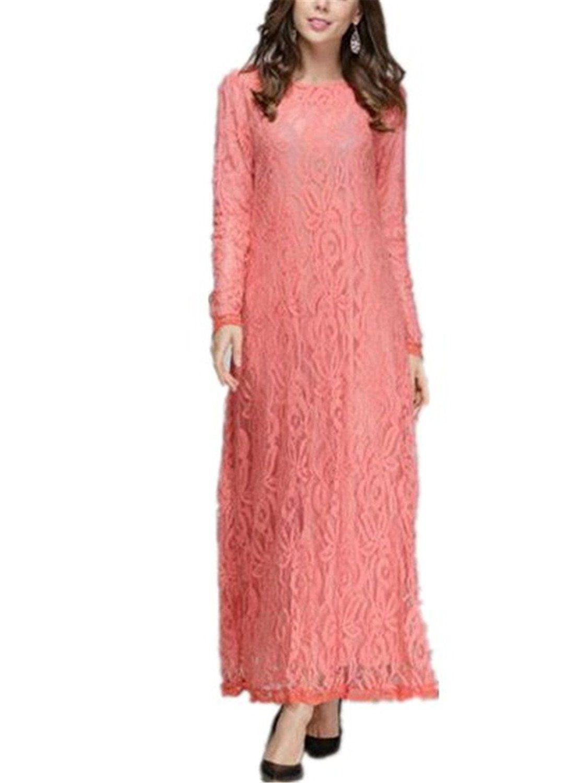 6010ec17412d Aimur Women's Lace Abaya Jilbab Muslim Kaftan Dress Long Sleeve Maxi Dress  Pink >>> For more information, visit now : Plus size dresses