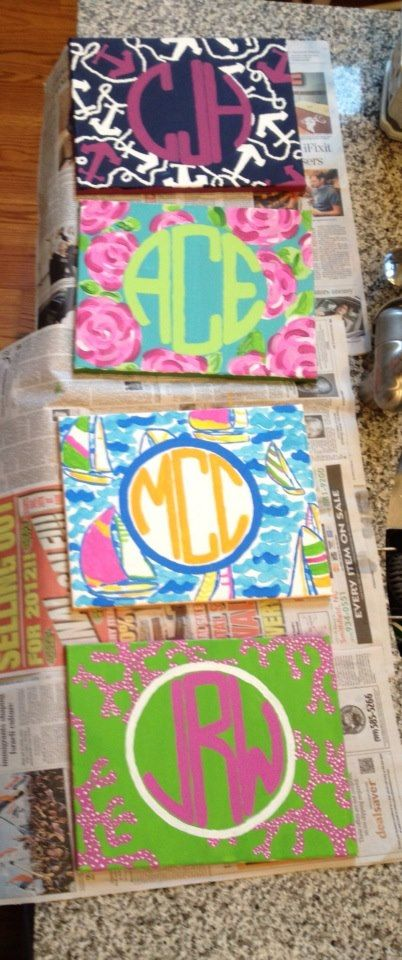 Lilly Pulitzer monogrammed canvas! Love this!! @Alli Rense Rohman i ...