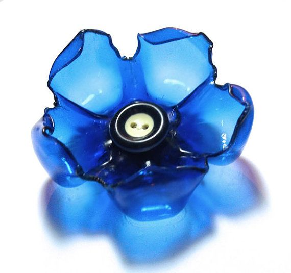 Recycled flower brooch made with plastic bottles by vertigodizain, $8.50