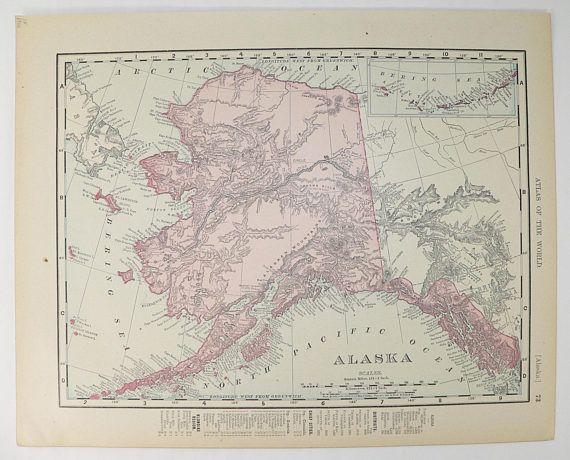 Vintage Alaska Map Canada 1900 Antique Map British North America