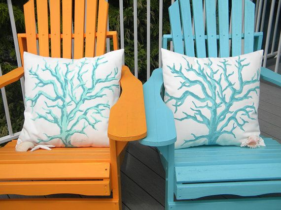 Outdoor pillow coral twotone branch 20 tropical by crabbychris, $41.00