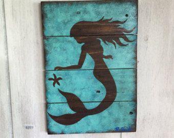 Mermaid Wall Decor Art On Wood By Nayscreations77 Etsy