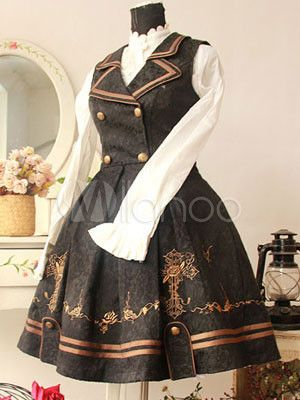 Classic Black Sleeveless Double-Breasted Turndown Collar Cotton Lolita Dress - Milanoo.com