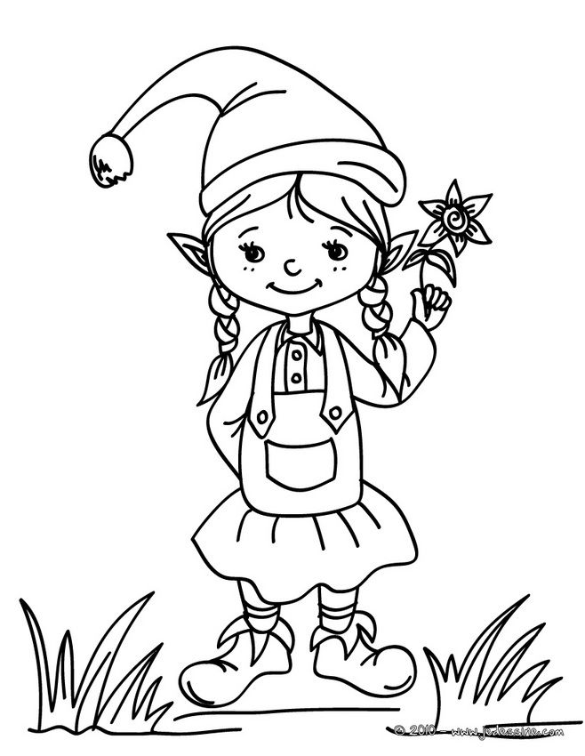Coloriage Lutins De Noël   Coloriage Lutin De Noël à La Fleur   AZ