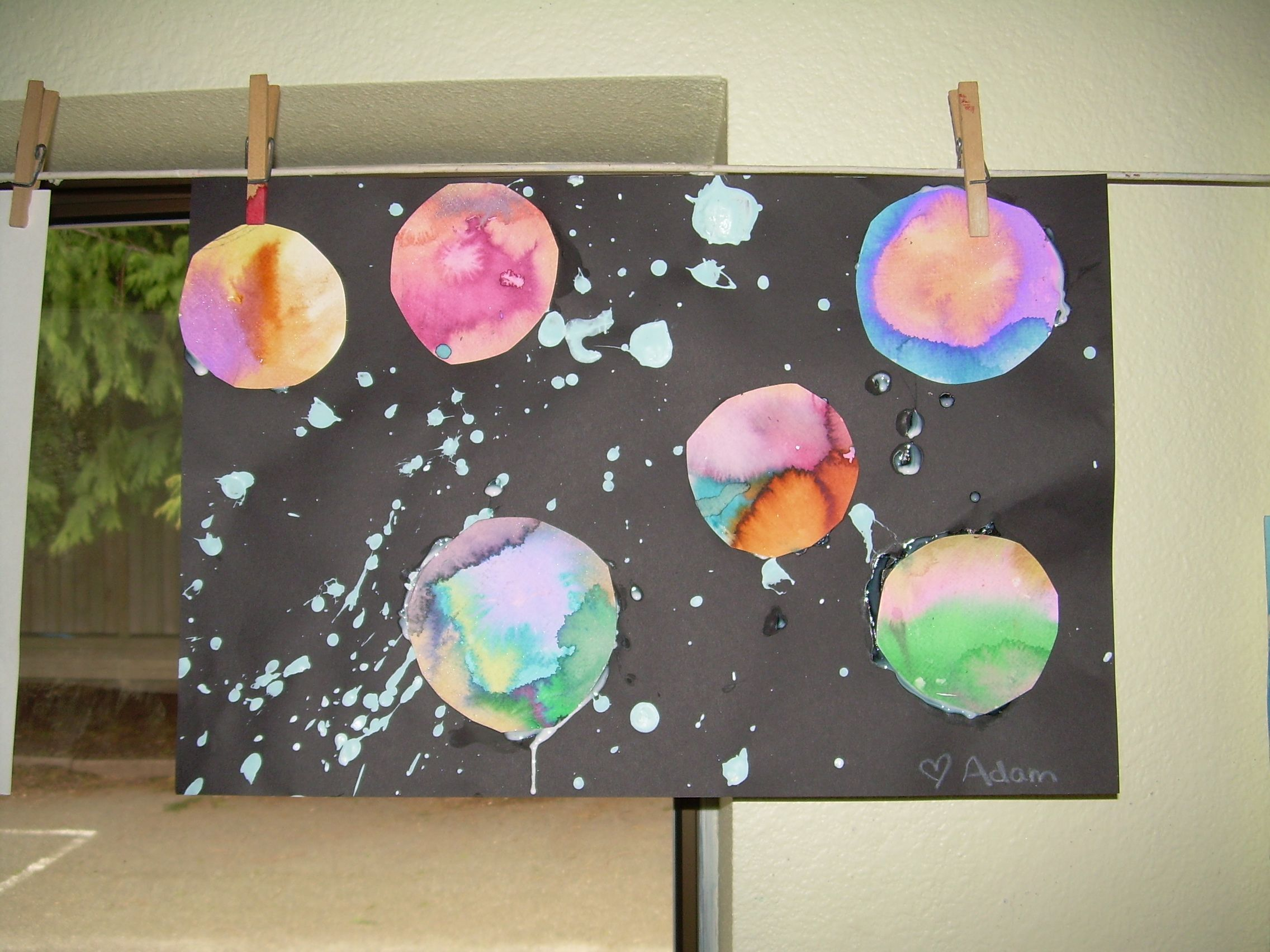 Splatter Paint And Watercolor Outer Space Art We Did In My