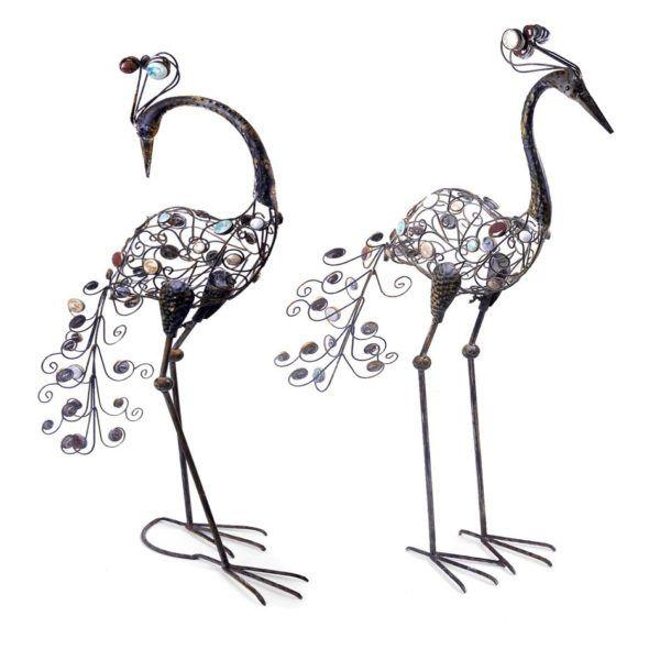 Pair Of Rustic Metal Free Standing Peacock Bird Garden Ornaments