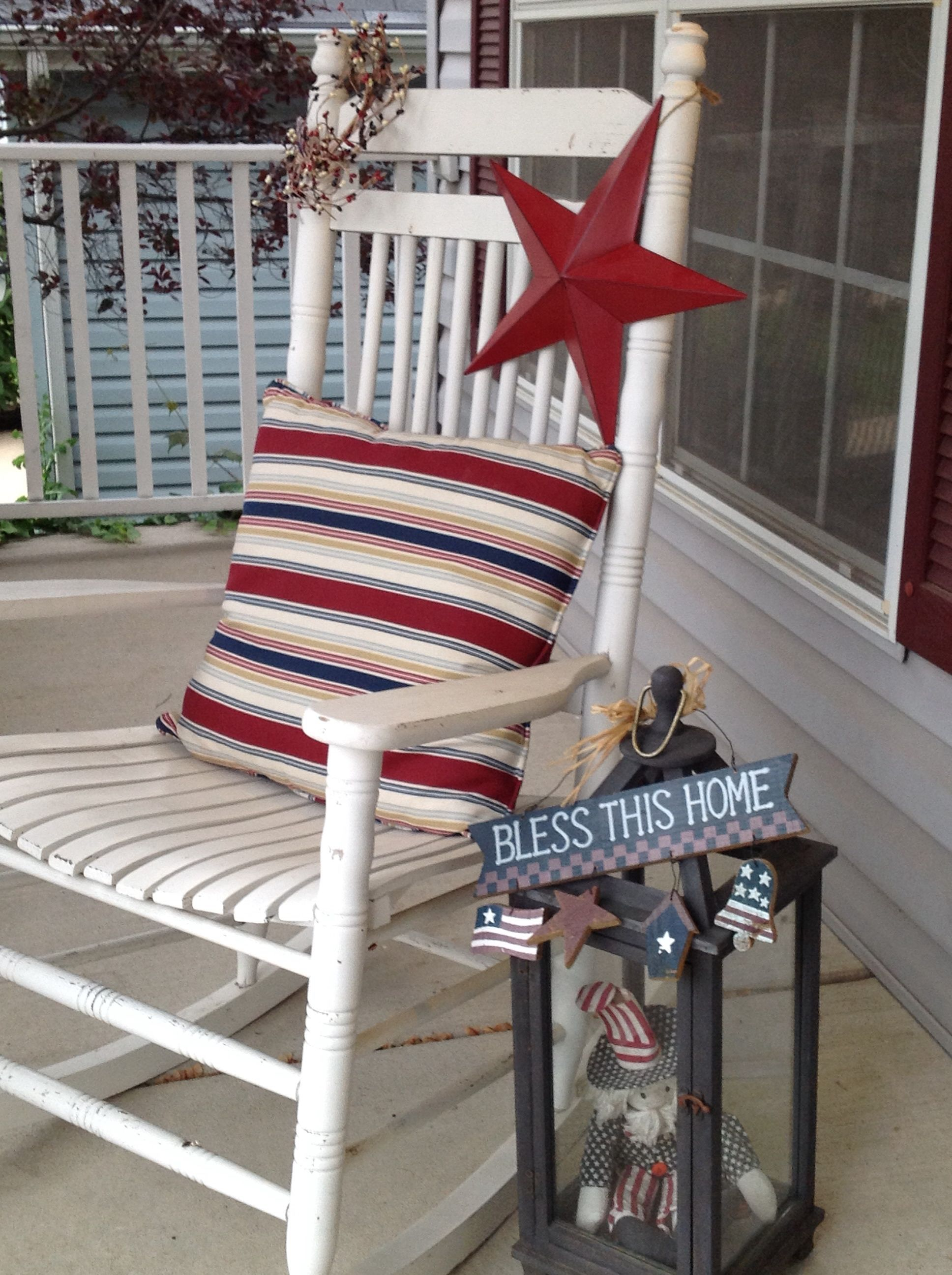 My front porch.   Love decorating for the 4th.