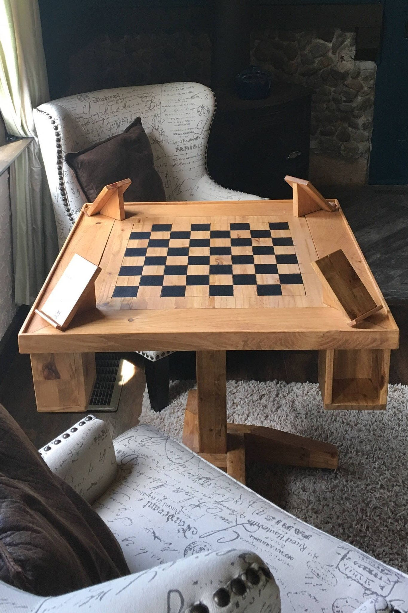 Wood Game Table, Chess Board, Square Table, Hand Crafted, Rustic Furniture,