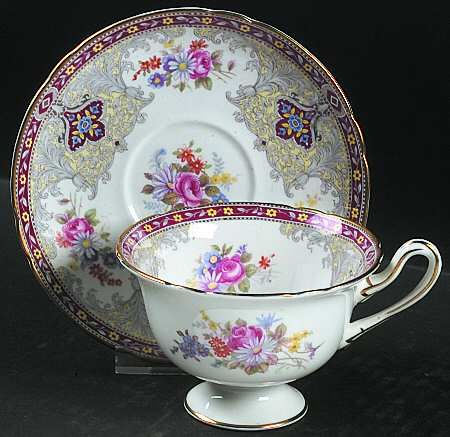 Footed Cup & Saucer Set in the Georgian-Red pattern by Shelley