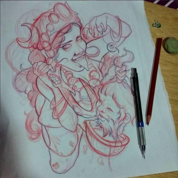 Dibujo Drawing Diosa Kali Diosakali Sketches Kali Tattoo
