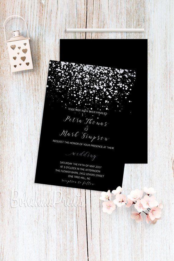 Black  Silver Wedding Invitations, Silver Glitter, Confetti