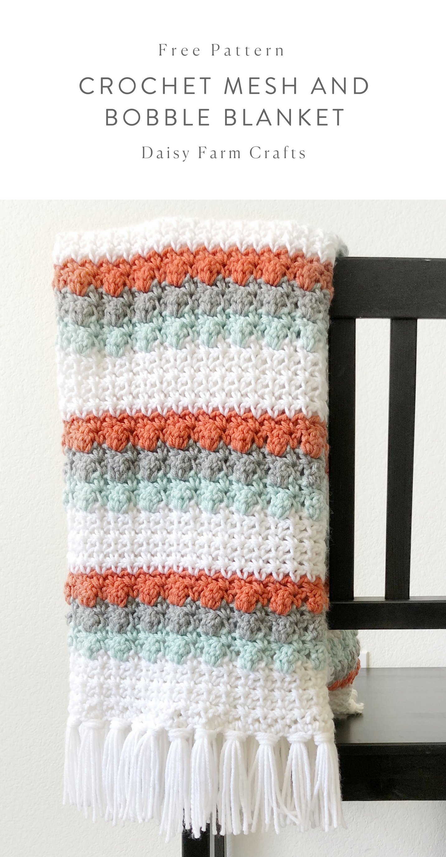 Free Pattern - Crochet Mesh and Bobble Blanket #crochet | tendidos ...