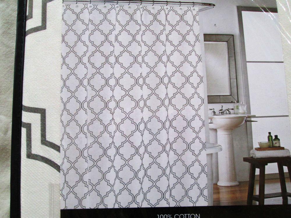 New Cynthia Rowley Fabric Shower Curtain Quatrefoil Grey