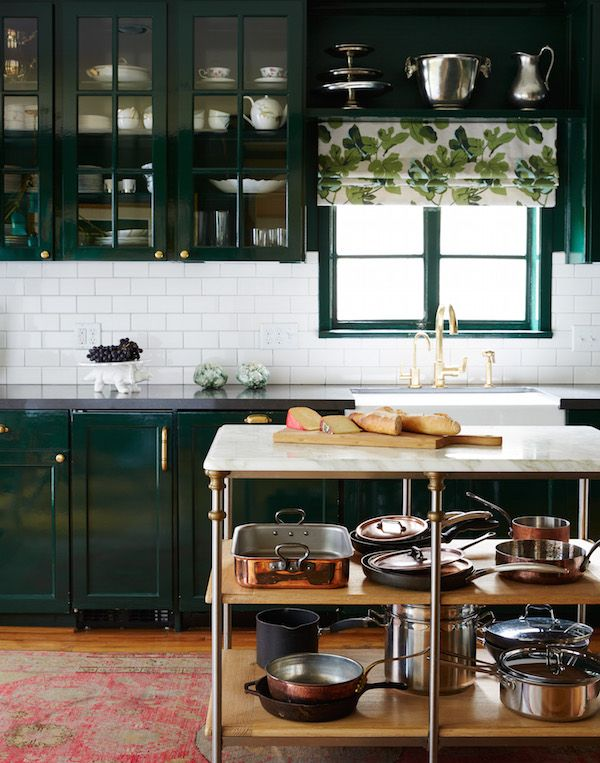Glossy Hunter Green Cabinets With Gold Hardware, White Subway Tile  Backsplash, And Threadbare Oriental