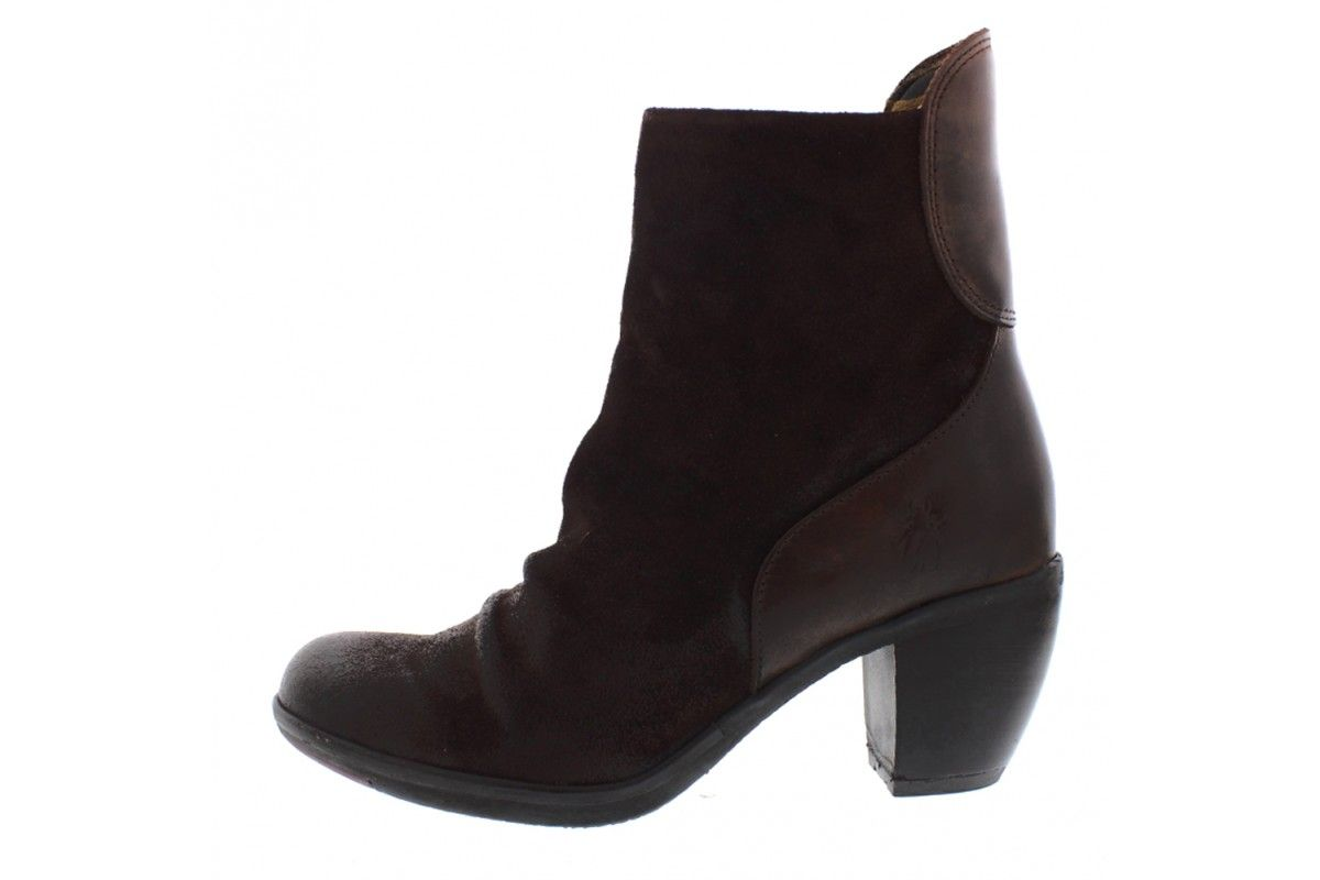 e87e10643a2ec Fly London Hota Oil Suede Rug Expresso Dark Brown Leather High Heel Ankle  Boots