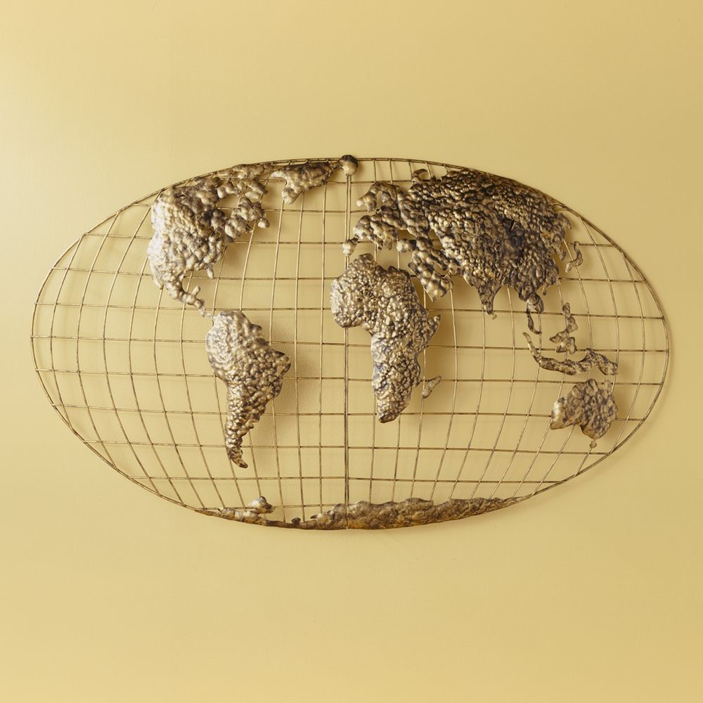 NEW Iron Metal World Globe Map 3D Declan Wall Art Decor Gold SEI ...