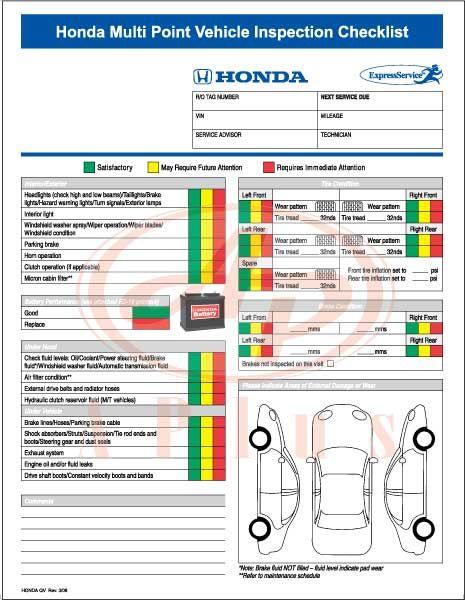 Resultado De Imagem Para Checklist Express Honda  Treinamento