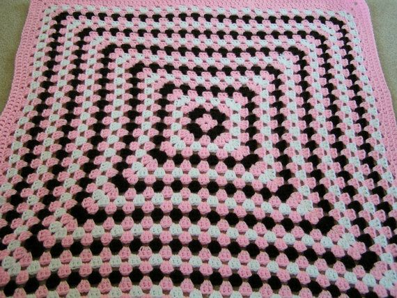 Crochet Granny Square Baby Afghan in Pink by kraftyladykreations, $35.00