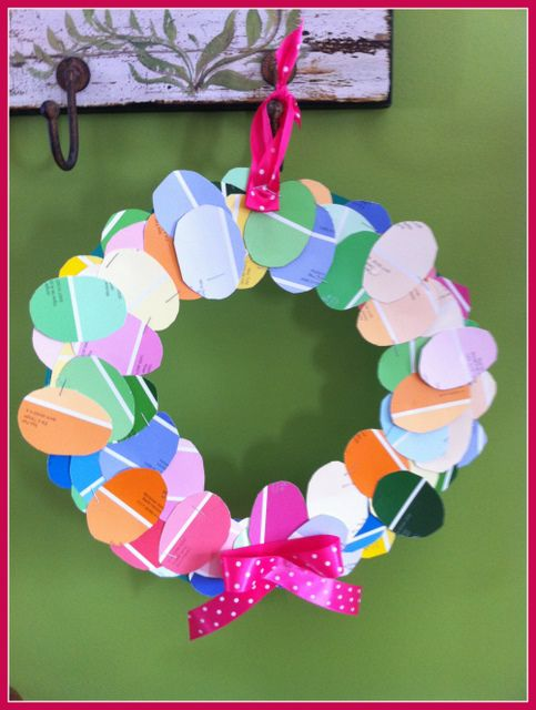 Easter kids egg wreath Craft (paint sample cards) - repinned by - Sample Cards