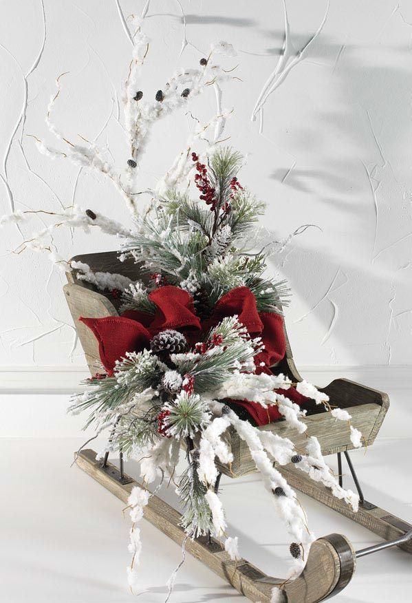 RAZ Christmas Sleigh Decoration, Christmas decor and Trendy tree