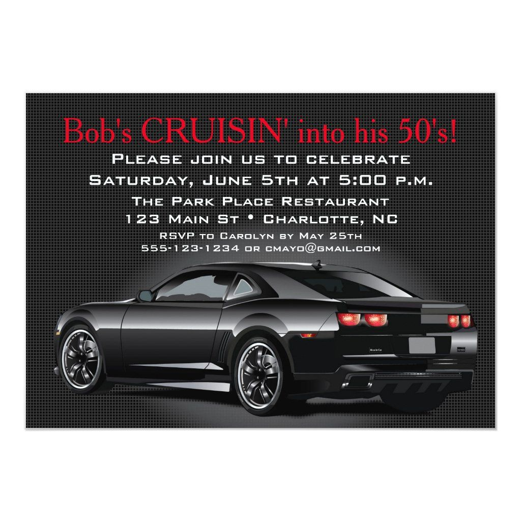 Muscle Car Mens Adult Birthday Party Invitation | Zazzle.com