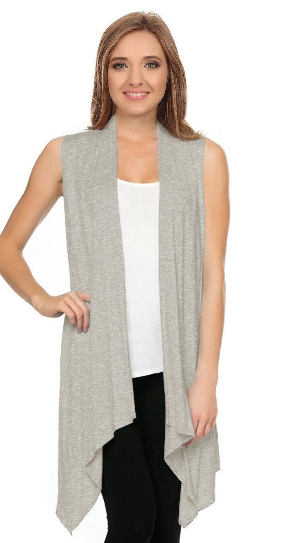 Asymmetrical Draped Open Front Sleeveless Cardigan
