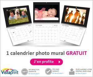Calendrier photo mural personnalisable gratuit chez vistaprint hors frais de port et de - Tirages photos gratuits sans frais de port ...