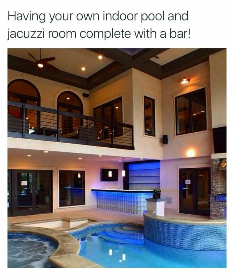 Home indoor pool with bar  Indoor jacuzzi, pool, and bar! | My Dream House ♥ | Pinterest ...