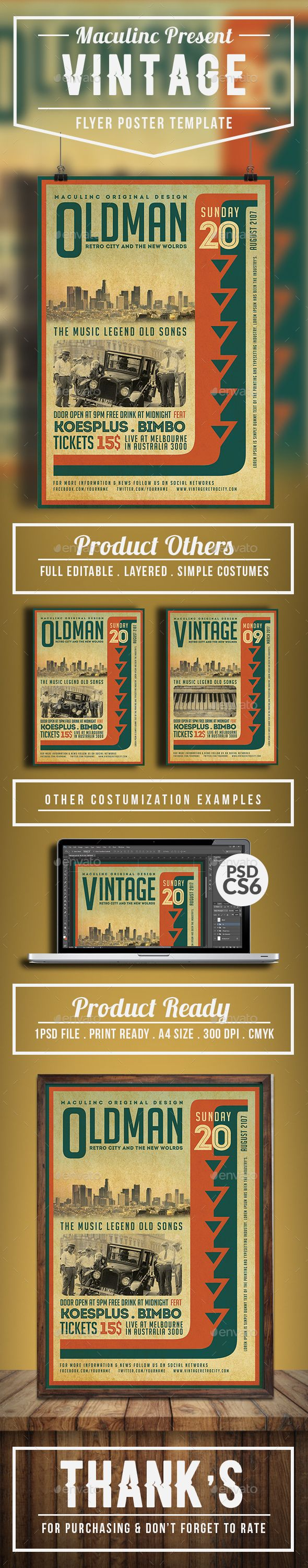 Vintage flyerposter vol5 flyer template template and concert flyer vintage flyerposter this flyer was designed for events associated with vintage and promote the music of blues rock classical jazz grunge folk saigontimesfo