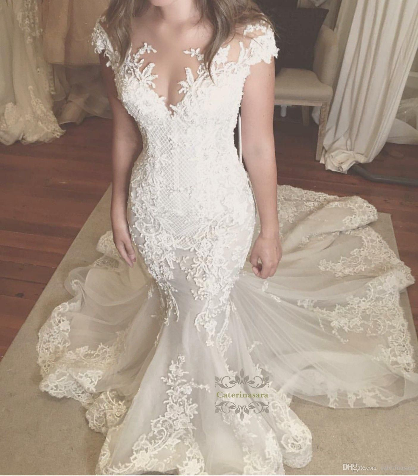 Vintage Lace Cap Sleeves Tulle Princess Wedding Dresses: Vintage Tulle Lace Illusion V Neck Cap Sleeves Mermaid