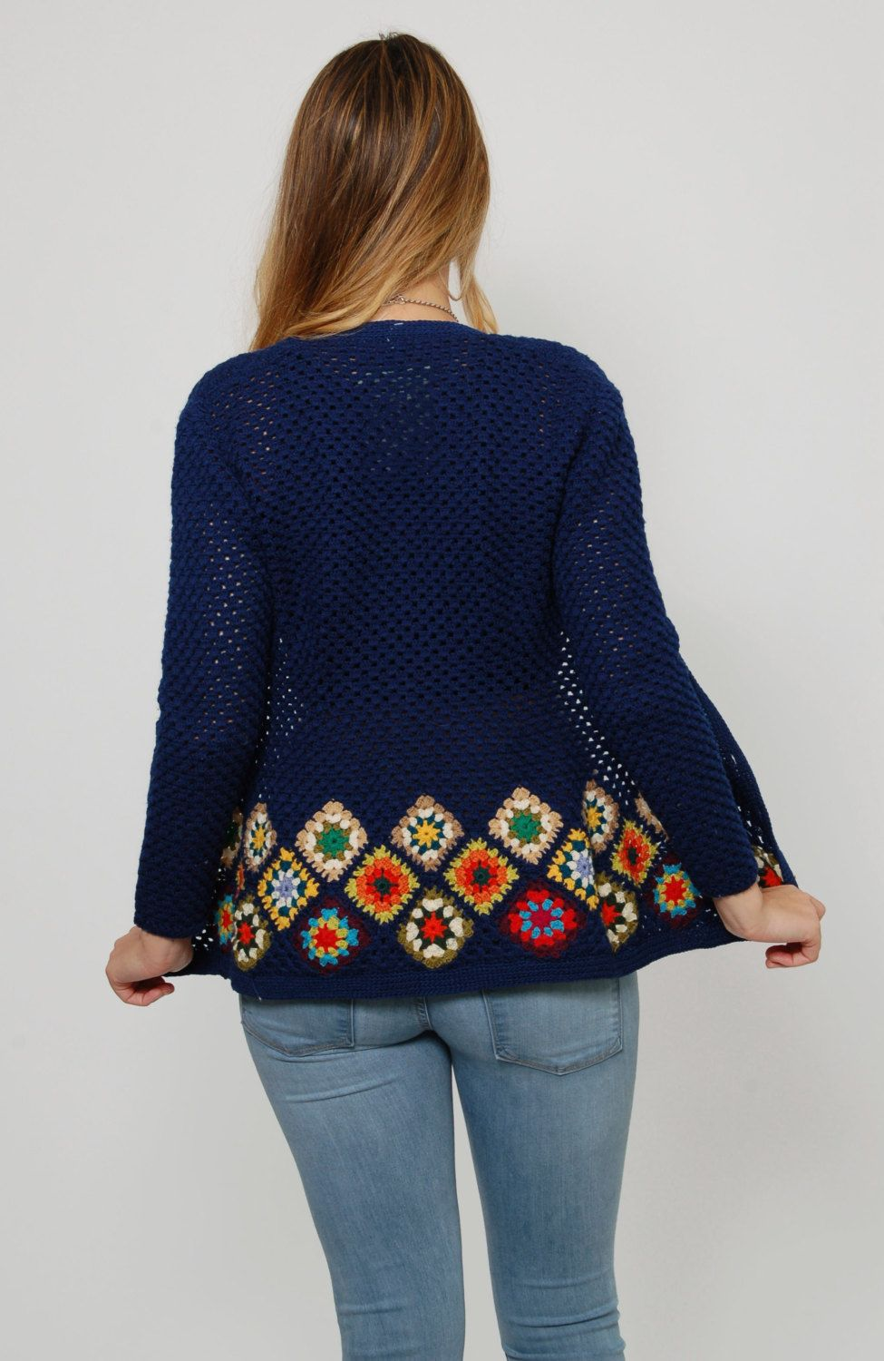 Vintage 70s GRANNY SQUARE Sweater Blue Knit Sweater Hippie ...