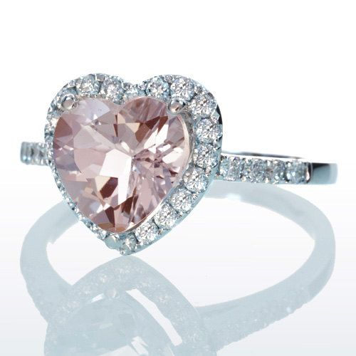 Morganite Ring Heart Shape Cut Dainty Morganite Diamond Heart Halo