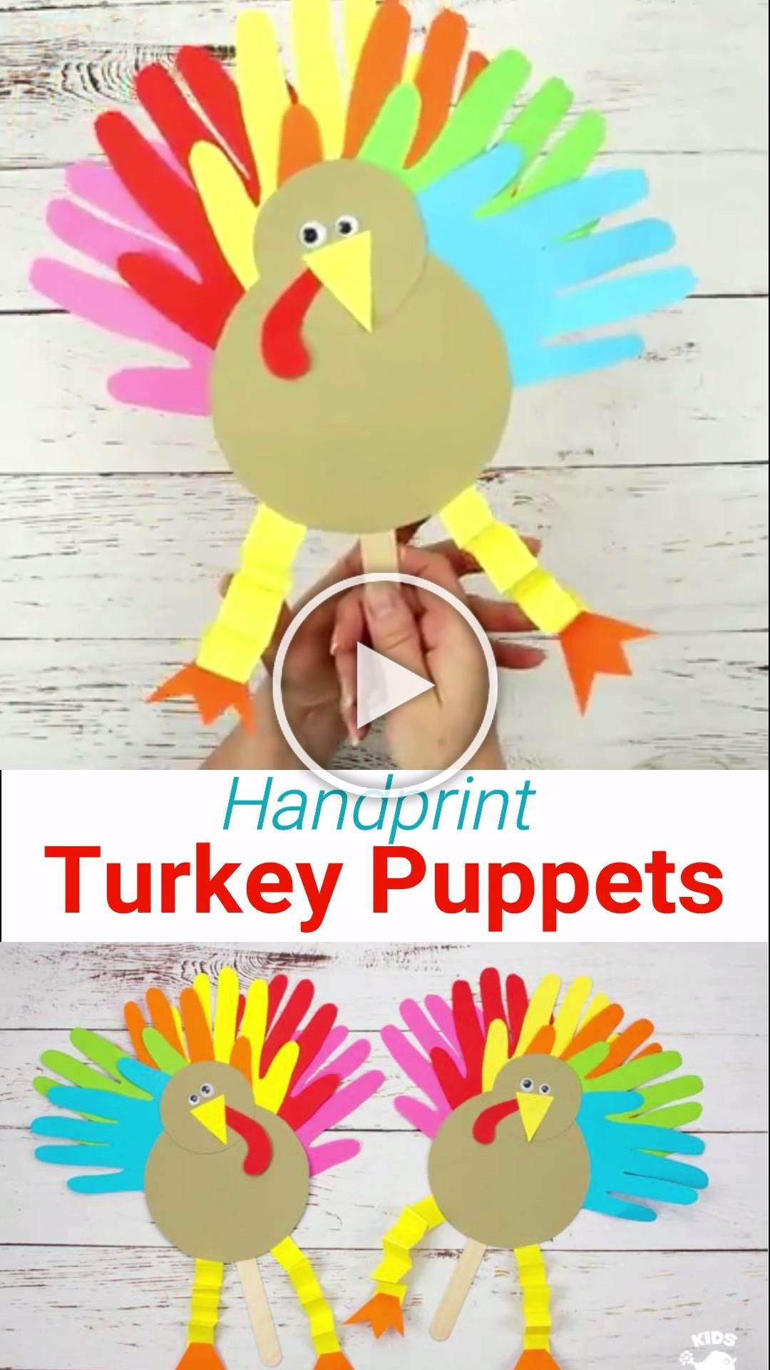 These Thanksgiving Handprint Turkey Puppets are such a fun way to keep the kids entertained this Fall holiday The Thanksgiving turkey crafts feathers are made from handpr...