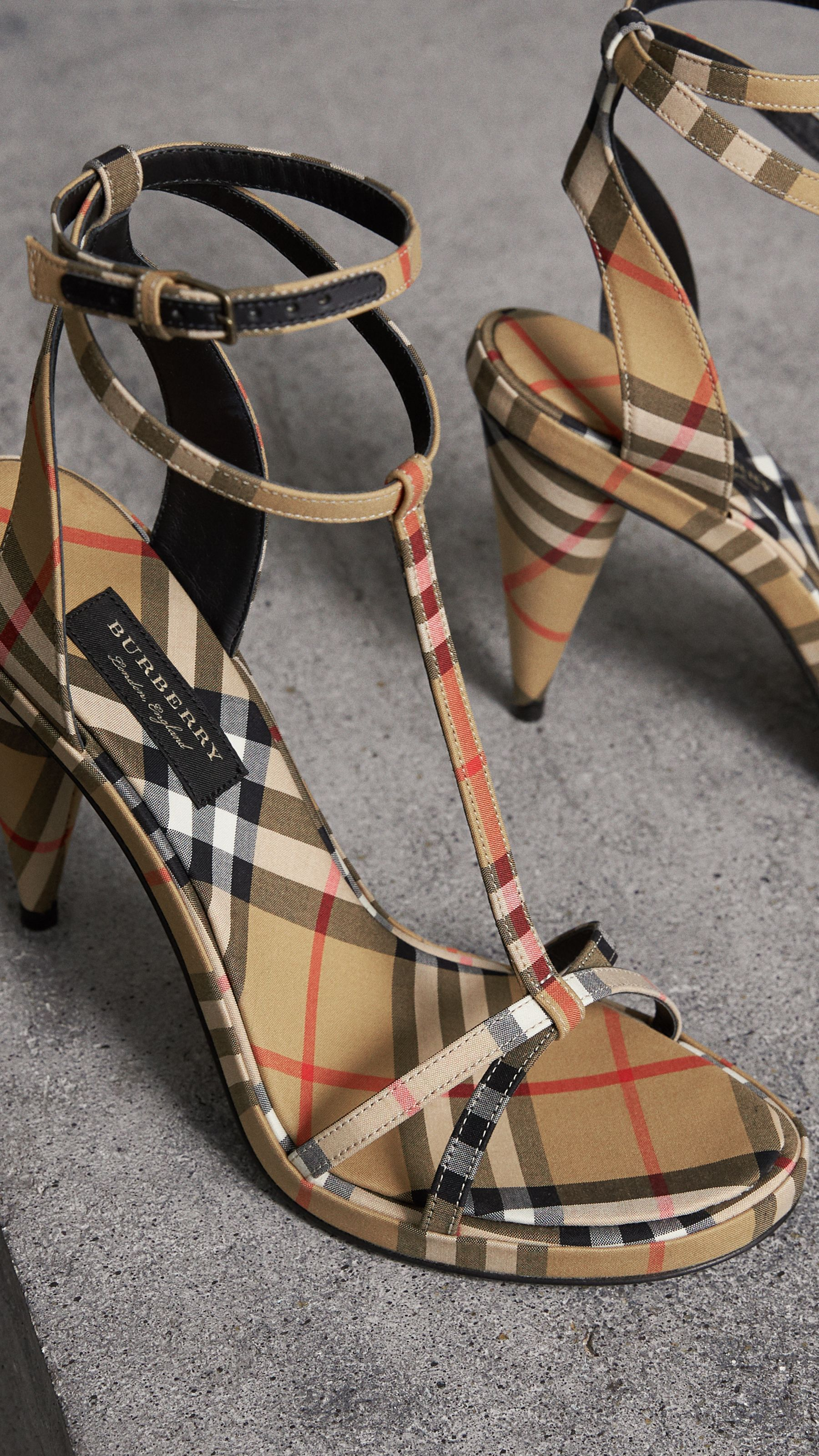 Vintage Check Cotton High-heel Sandals