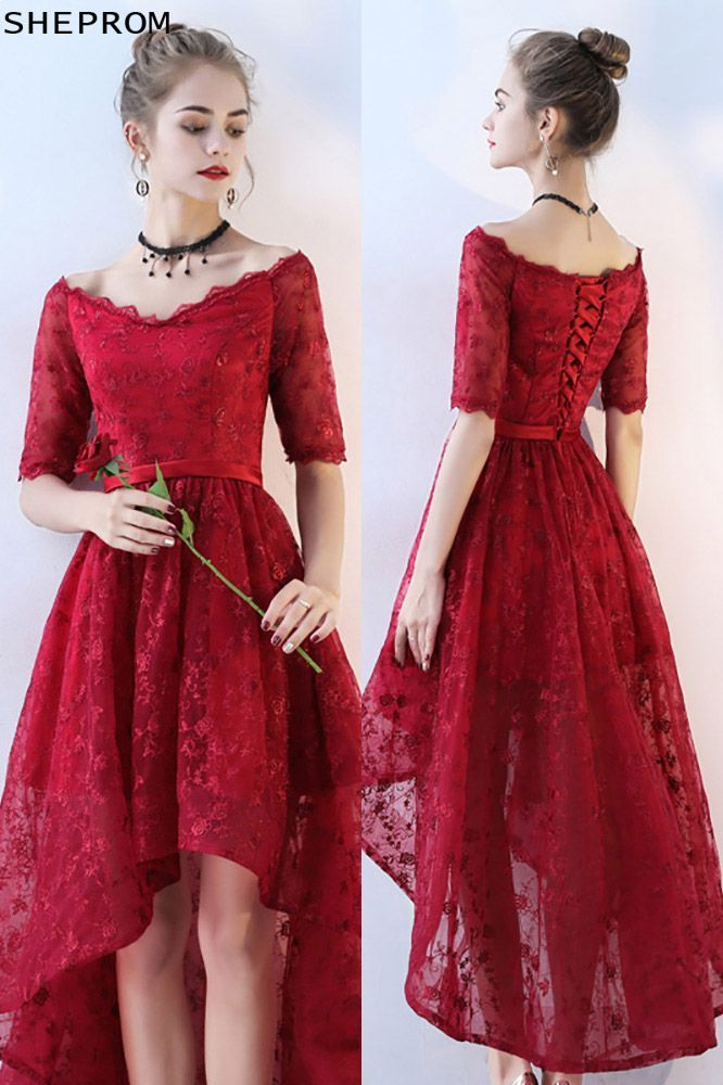 ef18a04647c8e0 Burgundy Lace High Low Prom Homecoming Dress Vneck with Sleeves ...