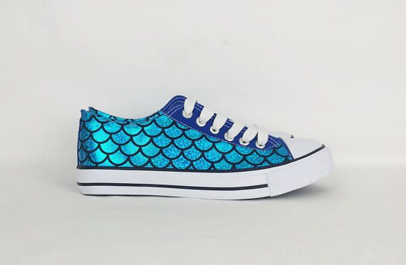 Hand painted (by me) mermaid converse shoes. Depop