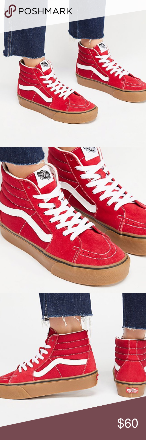 Vans Sk8 hi platform in red Bright red vans with gum sole. Worn only once  and in excellent condition. No box included. Size 9 women s. Vans Shoes  Sneakers d8d725361