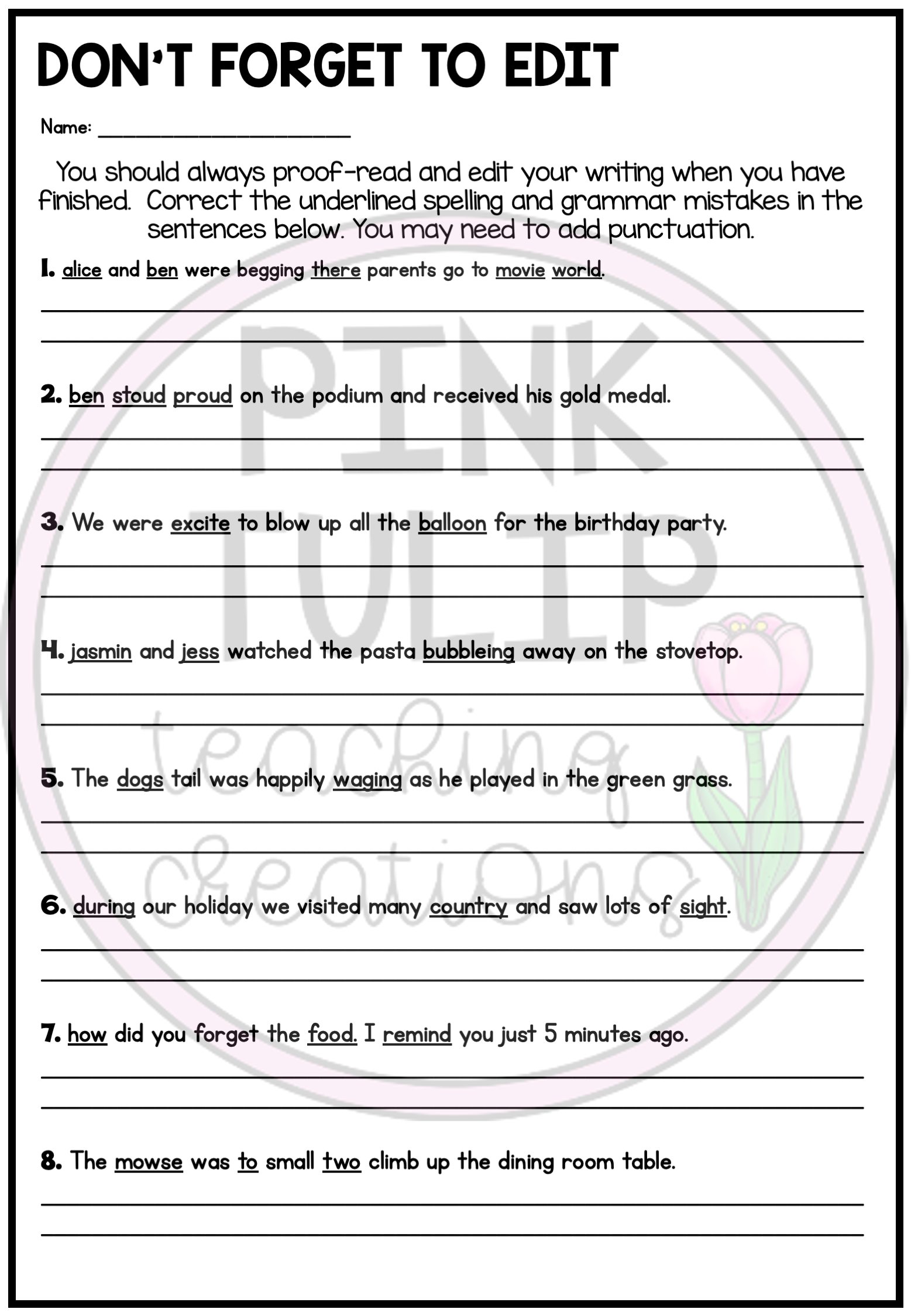 Proofreading And Editing Worksheets Printable   Printable Worksheets and  Activities for Teachers [ 2249 x 1557 Pixel ]