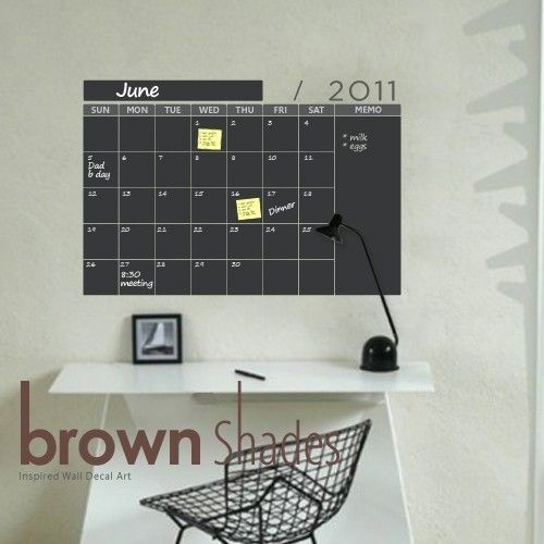 Calendar Chalkboard Wall Decal only make this more fun with colored