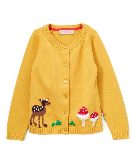 Sophie & Sam Yellow Deer & Mushroom Cardigan - Infant, Toddler & Girls