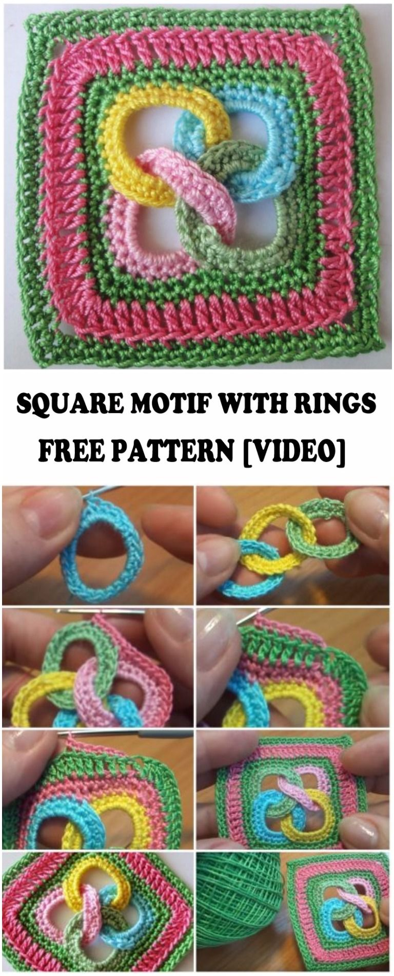 Learn To Crochet Square Motif With Rings | crochet | Pinterest ...