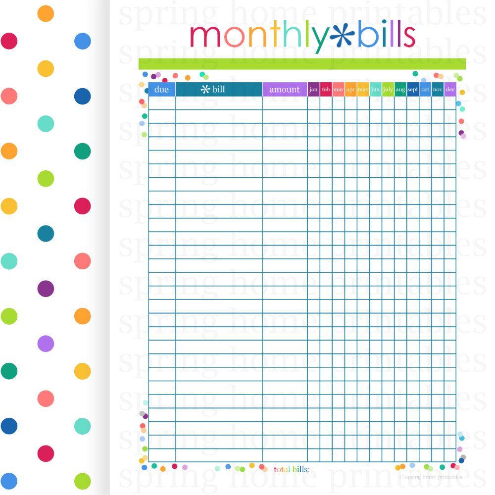 MONTHLY BILLS, Budget Planner, Printable Budget, Bill